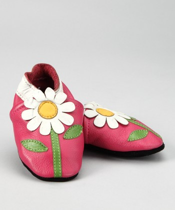 Pink & White Daisy Booties