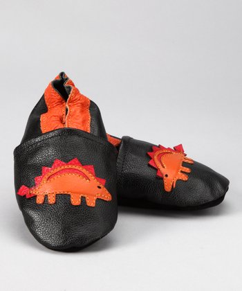Jet Black & Grapefruit Stegosaurus Booties