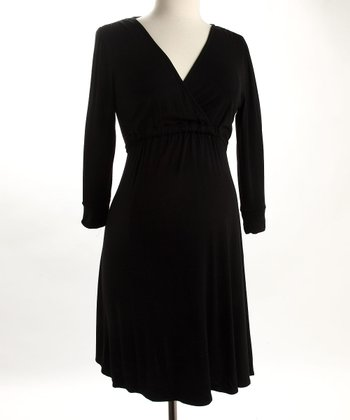 Fierce Mamas Black Jersey V-Neck Dress
