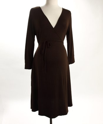 Fierce Mamas Brown Jersey V-Neck Dress