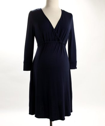 Fierce Mamas Navy Jersey V-Neck Dress