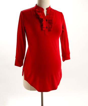 Fierce Mamas Red Jersey Box-Pleat Shirt