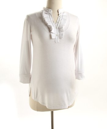Fierce Mamas White Jersey Box-Pleat Shirt