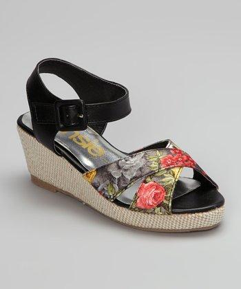 Black Floral Sandal