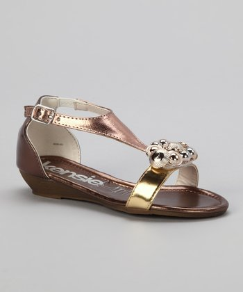 Gold Metallic Bead T-Strap Sandal