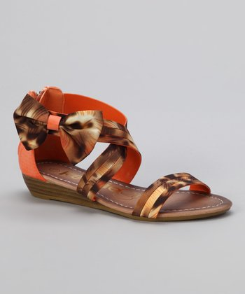 Orange Leopard Crisscross Bow Sandal