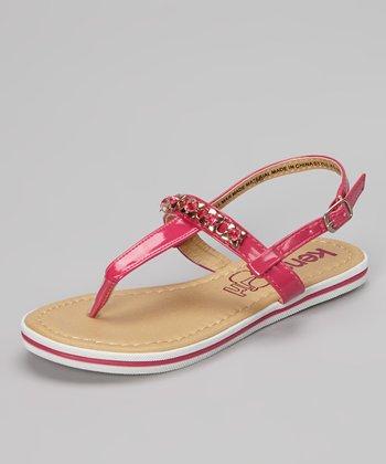Fuchsia Patent Bejeweled Sandal