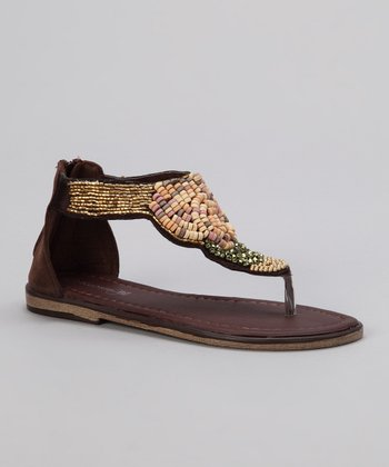 Brown Beaded Thong Sandal