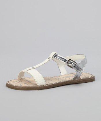 White & Silver T-Strap Sandal