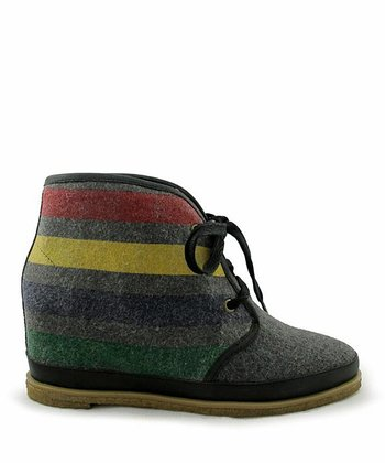 Charcoal Stripe Wool Eliotte Hidden Wedge