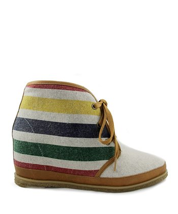 Heather Gray Stripe Wool Eliotte Hidden Wedge