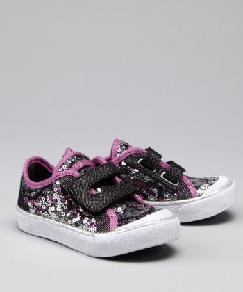 Black & Silver Brilliance Sneaker - Kids