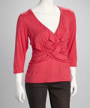 Hot Pink Knotted Three-Quarter Sleeve Top