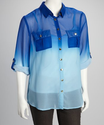 Turquoise & Mint Ombré Sheer Button-Up
