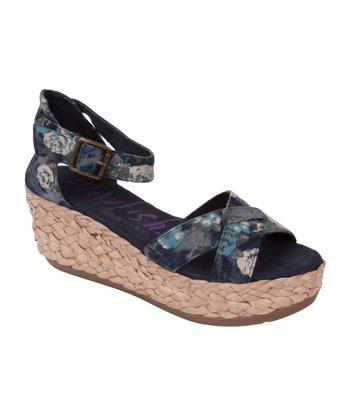 Blue Denim Floral Gypsy Espadrille