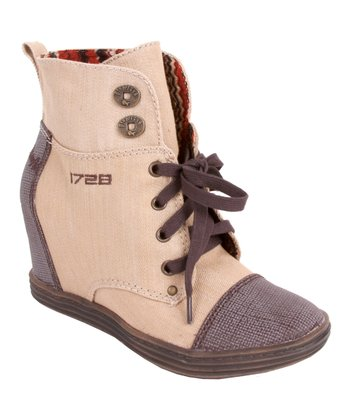 Bark Denim & Brown Mesh Topanga Wedge Boot