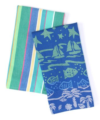 Summer School Stripe Dish Towel Set