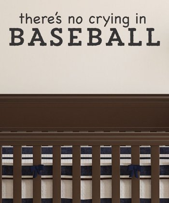 Black 'No Crying in Baseball' Wall Quotes Decal