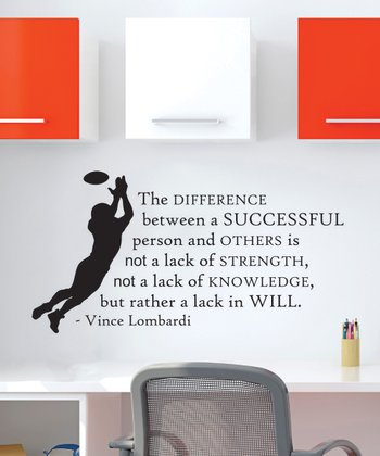 Black 'Lombardi' Football Wall Quotes Decal