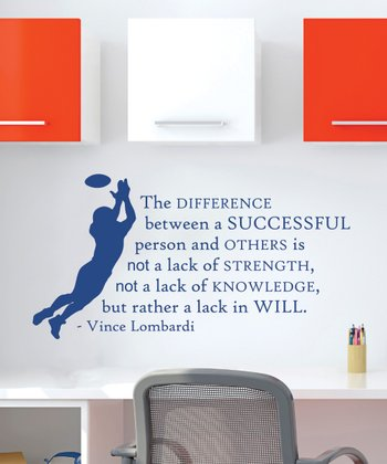 Blue 'Lombardi' Football Quote Wall Decal