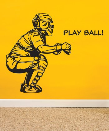 Black 'Play Ball' Wall Quotes Decal