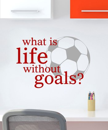 Red 'Life Without Goals' Wall Quotes Decal