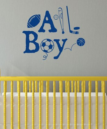 Navy 'All Boy' Wall Quotes Decal