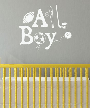 White 'All Boy' Wall Quotes Decal