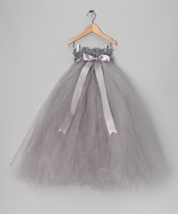 Silver Flower Girl Tutu Dress