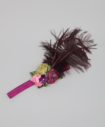 Purple & Green Feather & Flower Headband