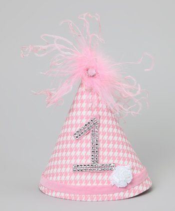 Pink Houndstooth Rhinestone '1' Party Hat