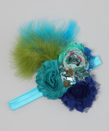 Blue & Green Peacock Feather Flower Headband