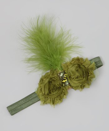Olive Green Feather Flower Headband