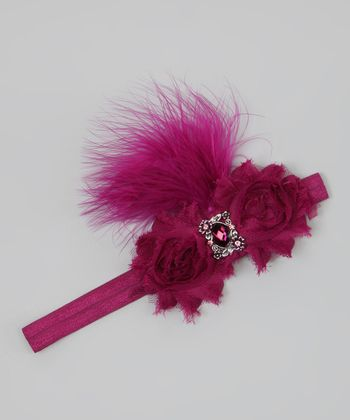 Berry Red Feather Flower Headband