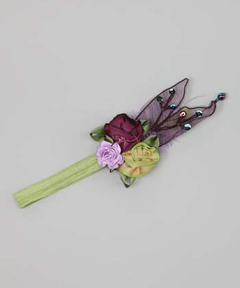 Green & Purple Flower Wing Headband