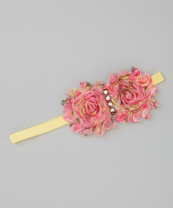 Pink & Yellow Flower Rhinestone Headband