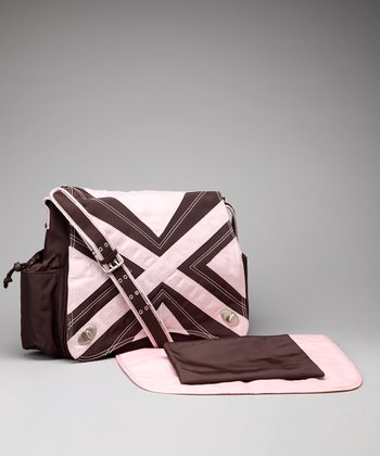 Chocolate & Pink Hannah's Messenger Diaper Bag