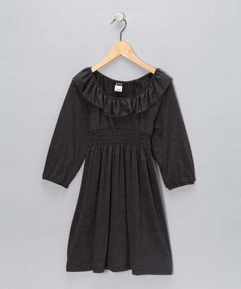 Gray Ruffle Dress - Girls