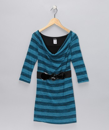Turquoise Stripe Dress - Girls