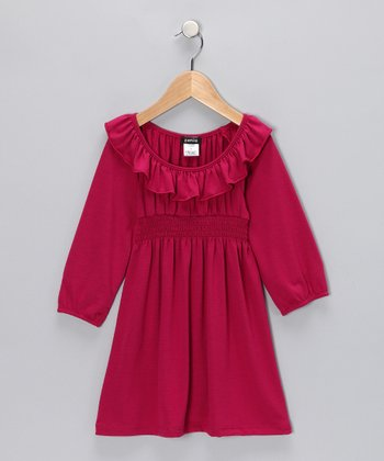 Berry Ruffle Dress - Girls