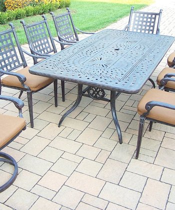 Aged Finish Belmont Nine-Piece Outdoor Patio Set