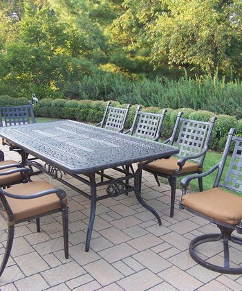 Aged Finish Belmont Nine-Piece Outdoor Dining Set