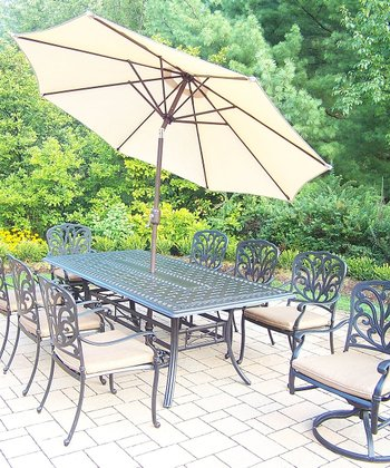 Antique Bronze Hampton 11-Piece Outdoor Dining Set