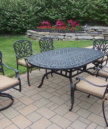 Antique Black Hampton Seven-Piece Outdoor Dining Set