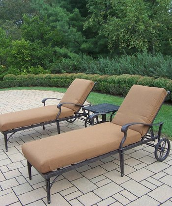 Aged Finish Belmont Three-Piece Outdoor Chaise Lounge