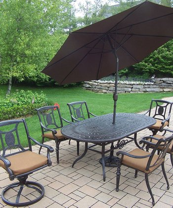Aged Finish Victoria Nine-Piece Outdoor Dining Set