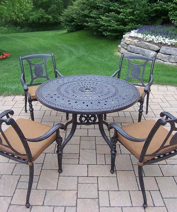 Aged Finish Victoria Five-Piece Outdoor Dining Set
