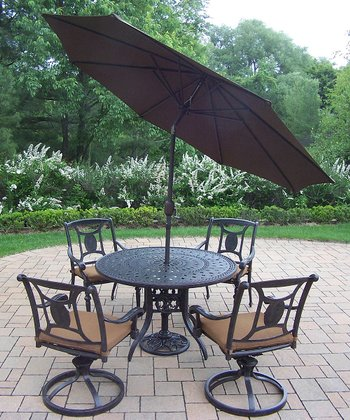 Aged Finish Victoria Seven-Piece Outdoor Dining Set