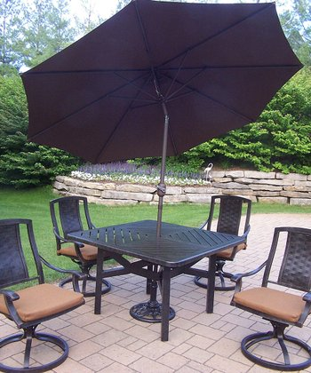 Aged Finish Vanguard Seven-Piece Outdoor Dining Set