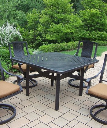 Aged Finish Vanguard Five-Piece Outdoor Dining Set